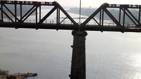Railways of India 11. Two railway bridge over big river: old and new Footage