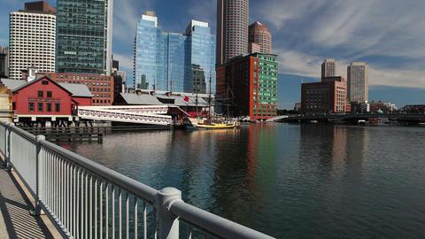 Old Northern Bridge crossing Boston Harbor Footage