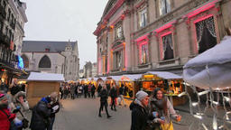 Traditional Christmas Market Crowded in Brussels Live Action