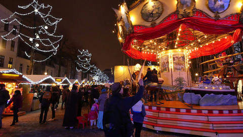 Traditional Christmas Fair Crowded in Brussels Footage