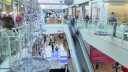 Crowded Marketplace in Christmas Time Footage