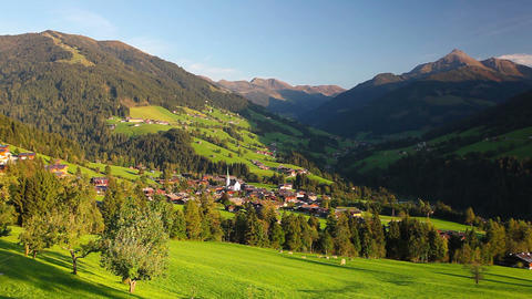 The alpine village of Alpbach and the Alpbachtal Footage