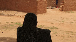 Niger, Africa. July 2013. Tuareg women resting in traditional village Footage