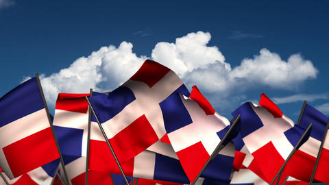Waving Dominican Republic Flags CG動画素材