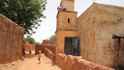 Niger, Africa. July 2013. Traditional village by the desert Footage