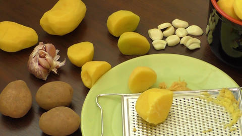Sliced raw potatoes – cooking Footage