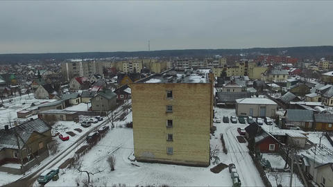 Rising Up Over The Buildings In Winter Footage