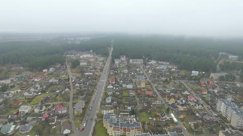 Flight Over Small Town With Rotation Left 2 Footage