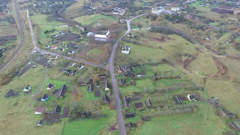 Flight Over The Country Near Church 2 Footage