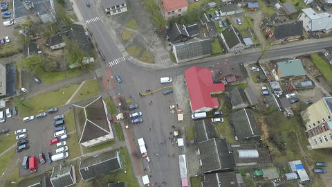 Panorama Over Small Town, Fair On Street Footage