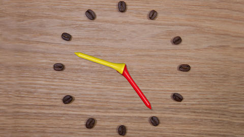 Clock of coffee beans and wooden golf tees, seamless loop animation Footage