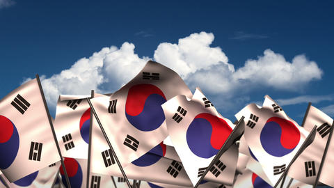 Waving South Korean Flags Animation