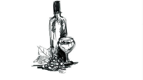 Digital drawing. We draw wine and a glass. Time lapse Animation