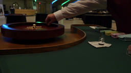 Dolly in to Roulette Wheel from Table while chips are placed Footage