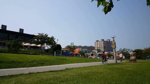 People walking along the boulevard park Footage