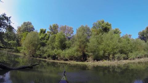 Drone landing on hands in kayak Footage