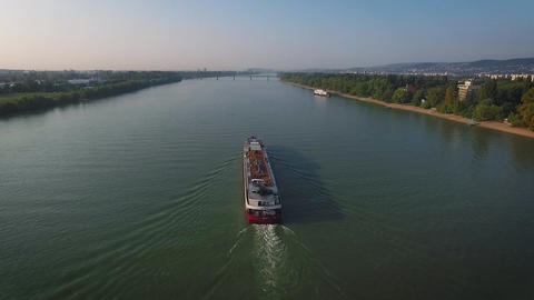 Forward aerial view over the river Live Action