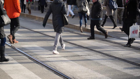 Pedestrian crossing in Budapest Footage