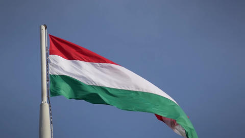 Huge hungarian flag in strong wind Footage
