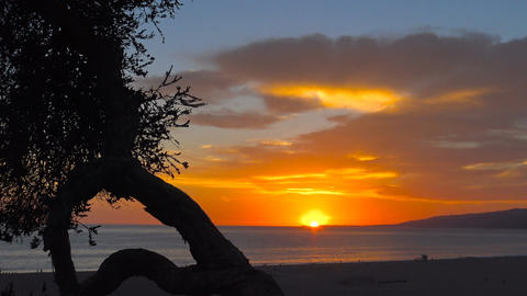 Spectacular sunset on the Pacific ocean.Los Angeles. California Footage