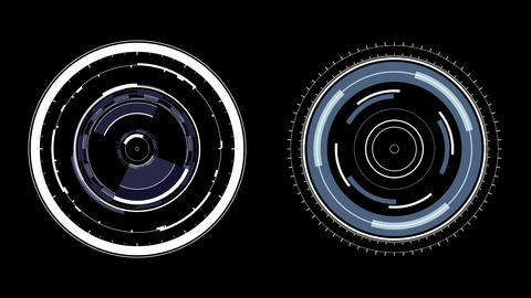 HUD Circles Motion Graphics. Two Radial Spin FX Elements Animation