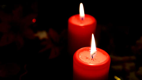 Burning red candles Footage