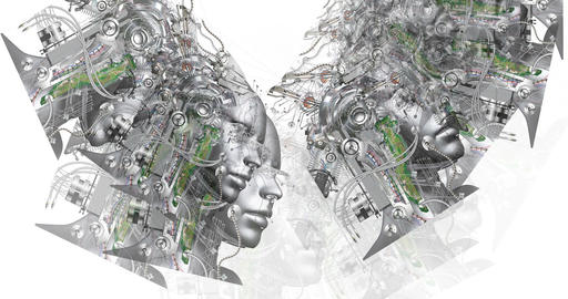 Digital animation of surreal cyborg heads Animation