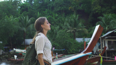 Beautiful Woman Traveler, Travel Concept Footage