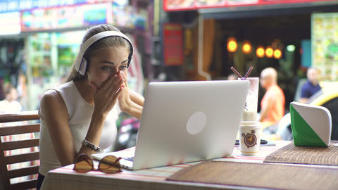 Happy Woman During Video Chat On Laptop Footage
