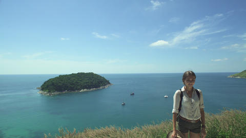 Backpack Traveler Woman Standing On Sea Cliff Footage