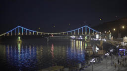 Kiev. Ukraine.The bridge across the Dnieper river at night. Timelapse Footage