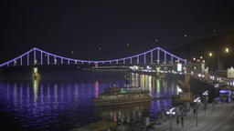 Kiev. Views of the city . Ukraine. The bridge across the Dnieper river at night Footage