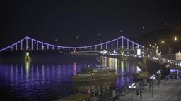 Kiev. Views of the city . Ukraine. The bridge across the Dnieper river at night Footage