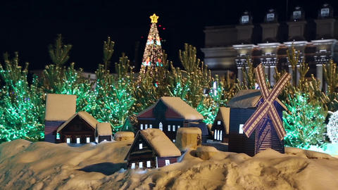 Decorated christmas trees and miniature houses Footage