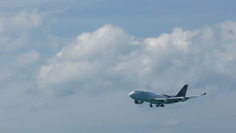 Boeing 747 approaching in Airport Footage