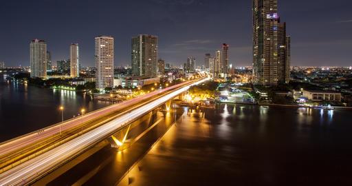 Bangkok Thailand At Night Time Lapse Footage
