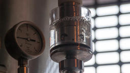 Microbrewery equipment HD slow-motion brewery video. Gauges pressure manometer Footage