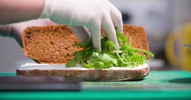 Sandwich cooking 4k video: chef puts herbs arugula rucola between slices bread Footage