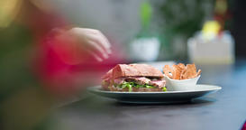 Sandwich serving in restaurant 4k video: chef finished cooking and gives order Footage
