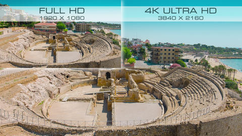 Compare video standards 4K Ultra HD vs Full HD Stock Video Footage