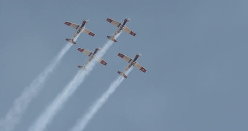 Israeli Air force Aerobatics team in formation flight during an airshow