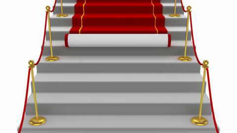 Red carpet rolling down stairs Animation