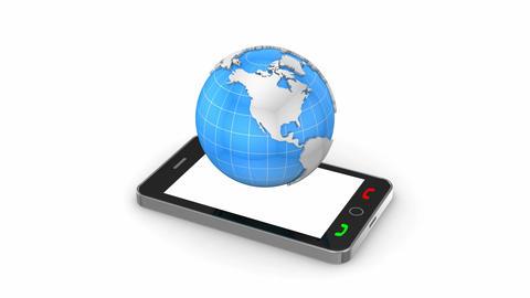 Rotating globe arises from mobile phone Animation