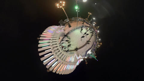 Ice Rink Tiny Little planet. VDNH ice rink, the biggest ice rink in Europe Footage
