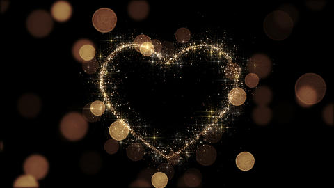 Beautiful Golden Heart Glittering. Looped 3d animation. Sparks Flying Slow. HD 1 Animation