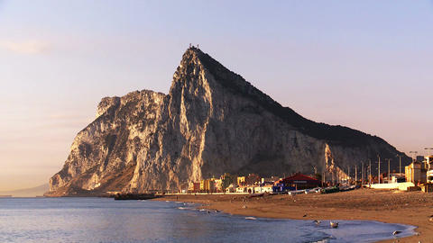 gentle daybreak at the Rock of Gibraltar Footage