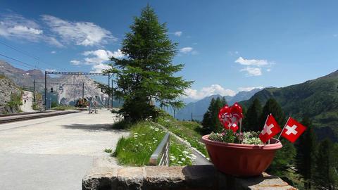 Alp Grum railway station is situated on the Bernina Railway Footage