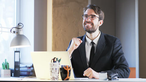 Young Businessman is Very Satisfied. He Has Achieved Great Success Footage