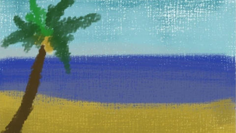 Digital drawing of the beach, Timelapse CG動画素材