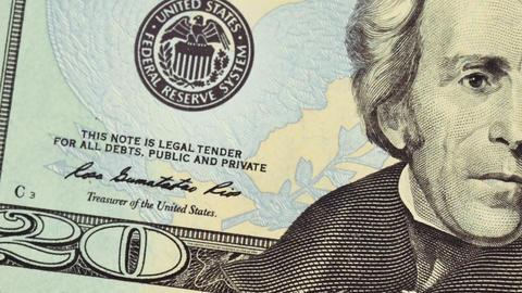Twenty US dollars. Currency of the USA Animation